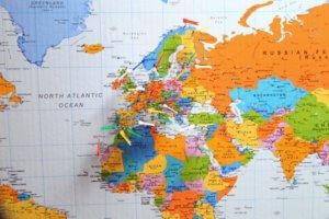 Mapa marcado con viajes a Europa